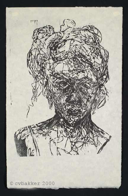 self portrait woodcut